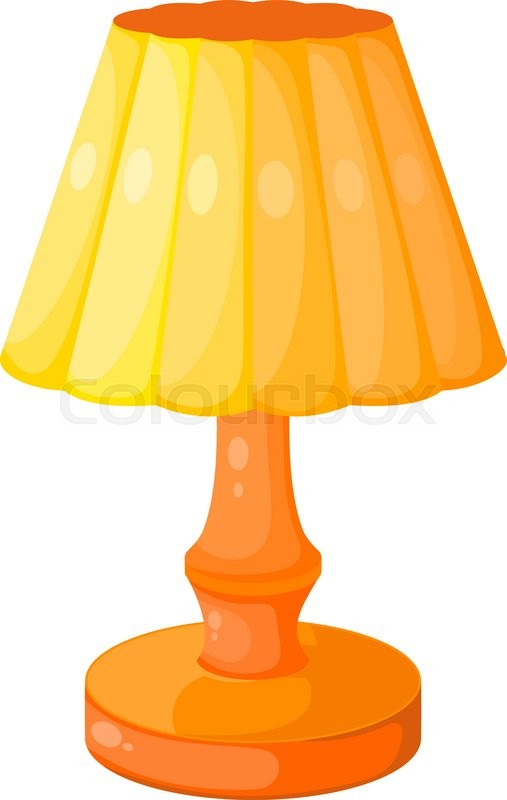 Yellow Cartoon Electric Lamp On A White Background
