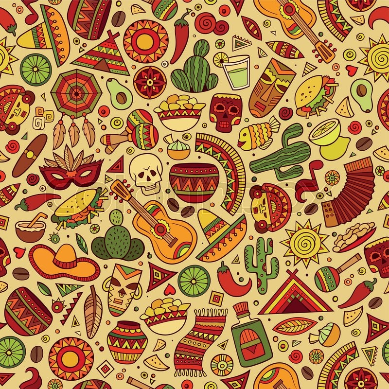 Cartoon Hand Drawn Latin American Mexican Seamless Pattern Lots Of