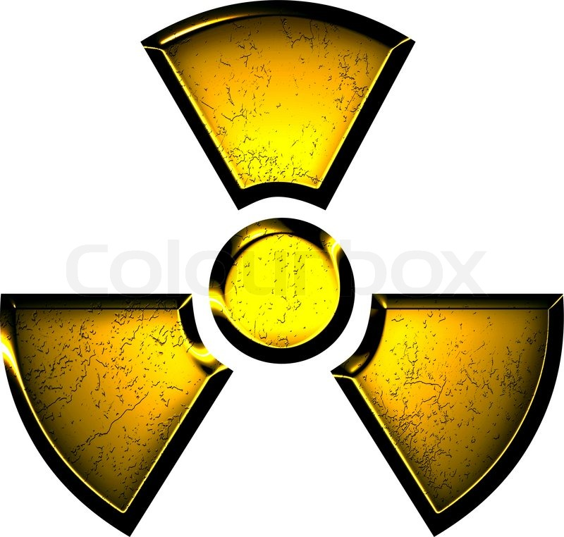 Yellow Symbol Of Radiation On A Steel Background Stock Photo
