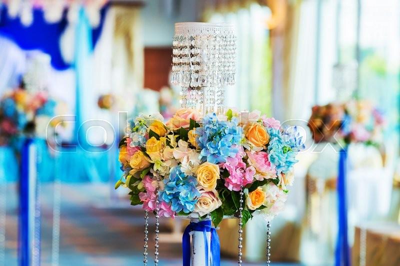 Wedding, event decor of restaurant interior, stock photo