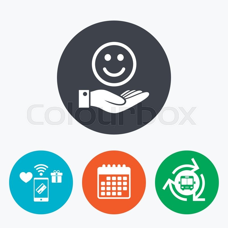 Smile And Hand Sign Icon Palm Holds Happy Face Symbol Mobile