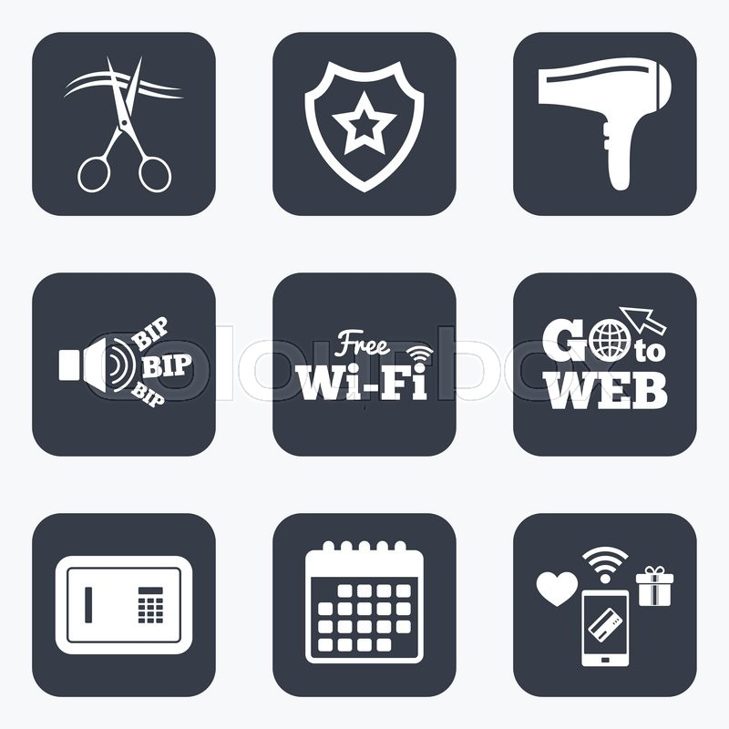 Mobile Payments Wifi And Calendar Icons Hotel Services Icons Wi