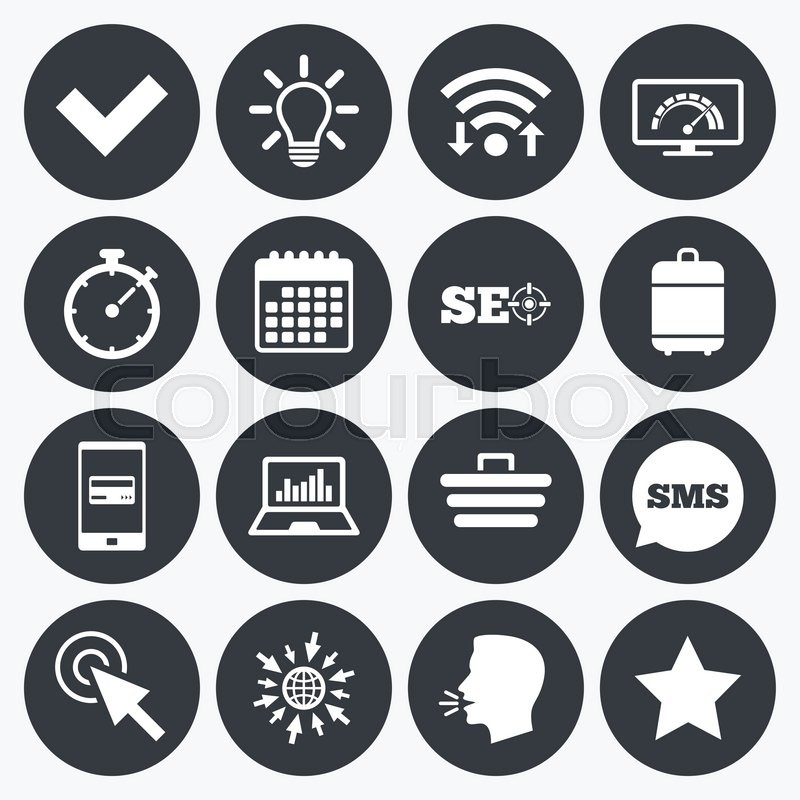 Wifi Calendar And Mobile Payments Internet Seo Icons Bandwidth