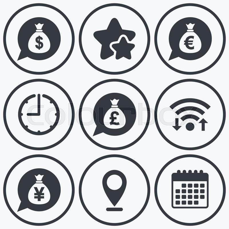 Clock Wifi And Stars Icons Money Bag Icons Dollar Euro Pound