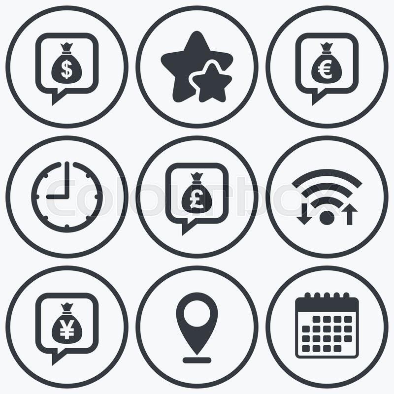 Clock Wifi And Stars Icons Money Bag Icons Dollar Euro Pound
