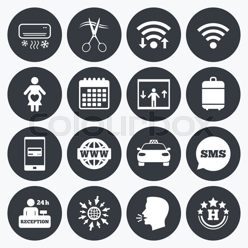 Wifi Calendar And Mobile Payments Hotel Apartment Service Icons