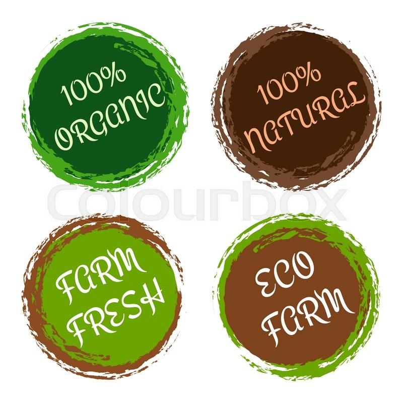 100 organic and natural labels. Eco fresh product from farm ...