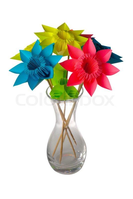 Оригами цветы в вазе схемы