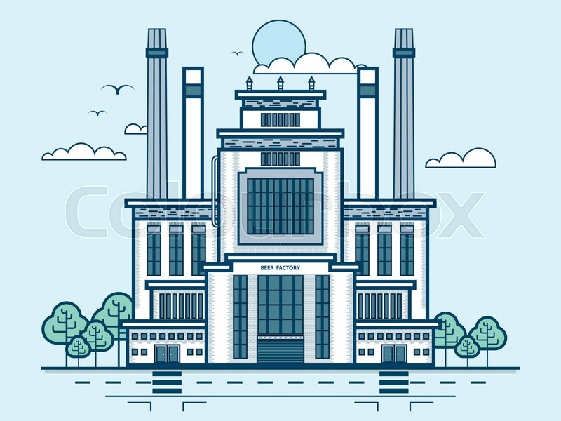 Stock vector illustration city street with brewery, modern architecture in line style element for infographic, website, icon, games, motion design, video, vector