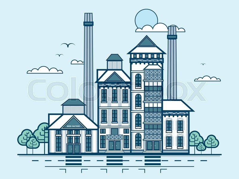 Stock vector illustration city street with brewery, modern architecture in line style element for infographic, website, icon, games, motion design, vector