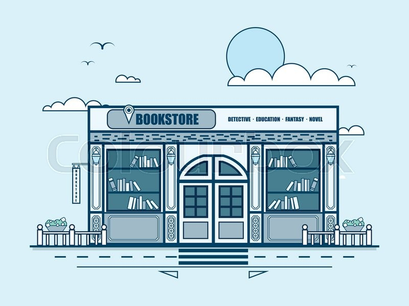 Stock vector illustration city street with bookstore, bookshop, modern architecture in line style element for infographic, website, icon, games, motion design, video, vector