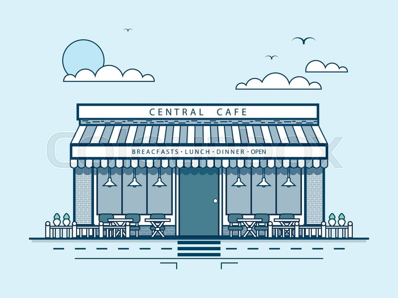 Stock vector illustration city street with central cafe, modern architecture in line style element for infographic, website, icon, games, motion design, video, vector