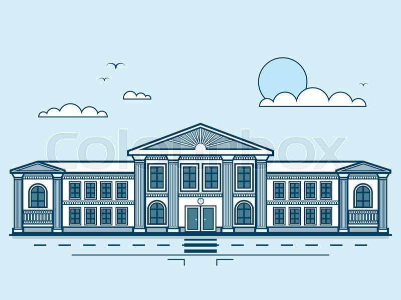 Stock vector illustration city street with institute, university, academy, educational center, classical architecture in line style element for infographic, website, icon, games, motion design, video, vector