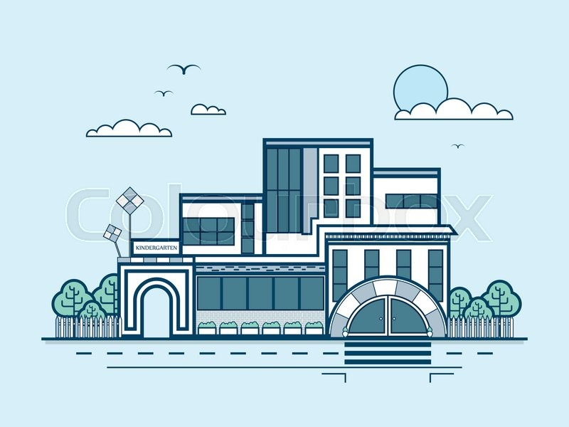 Stock vector illustration city street ... | Stock vector ...