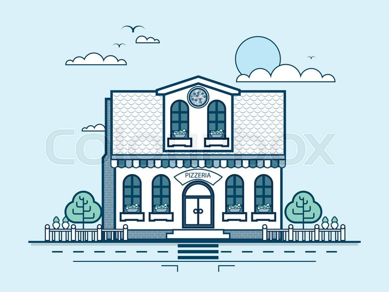 Stock vector illustration city street with pizzeria, modern architecture in line style element for infographic, website, icon, games, motion design, video, vector