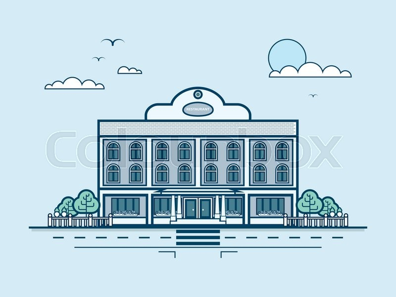 Stock vector illustration city street with restaurant, modern architecture in line style element for infographic, website, icon, games, motion design, video, vector