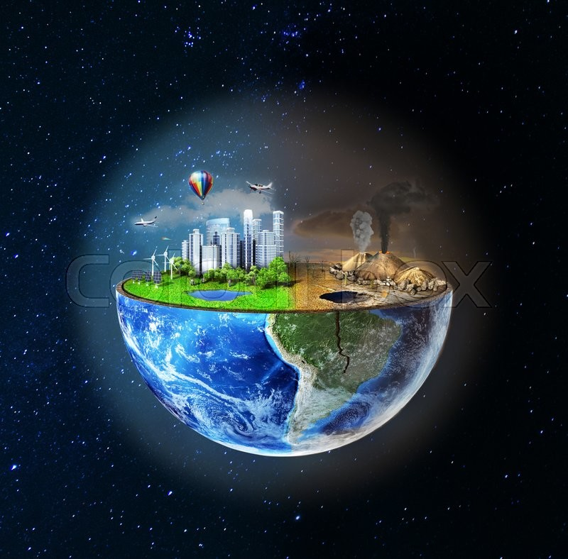 Eco Concept Half Sphere Of Earth With Light Side And Darker Side In Space One Side Is Eco City Different Side Is Empty And Dry Ground With Mountains Image 18935482 on Dry Bones 2