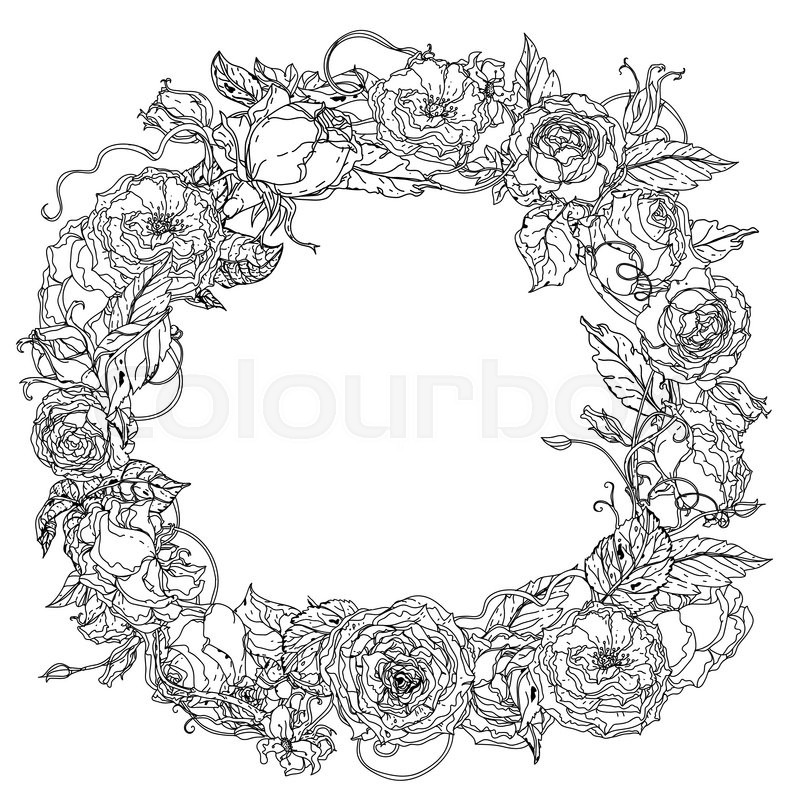 Artistic uncolored for colouring book wreath ring of roses