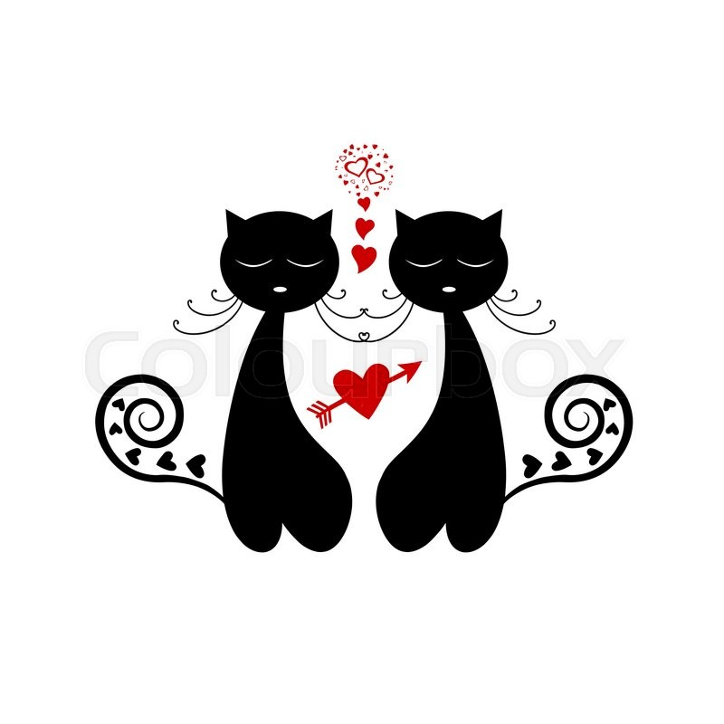 Love Cat Silhouette Isolated On White Stock Vector Colourbox