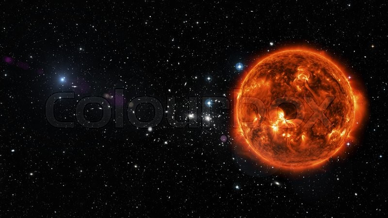 View of sun in outer space in a star field elements of for Outer space elements