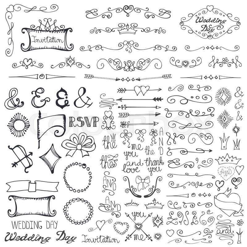 Doodles wedding decor element setswirling borderarrowhearts stock vector of doodles wedding decor element setswirling borderarrowhearts junglespirit Image collections