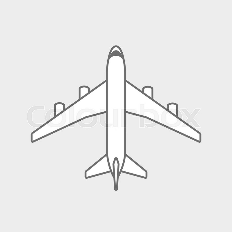 Black Plane Outline Simple Airplane Stock Vector