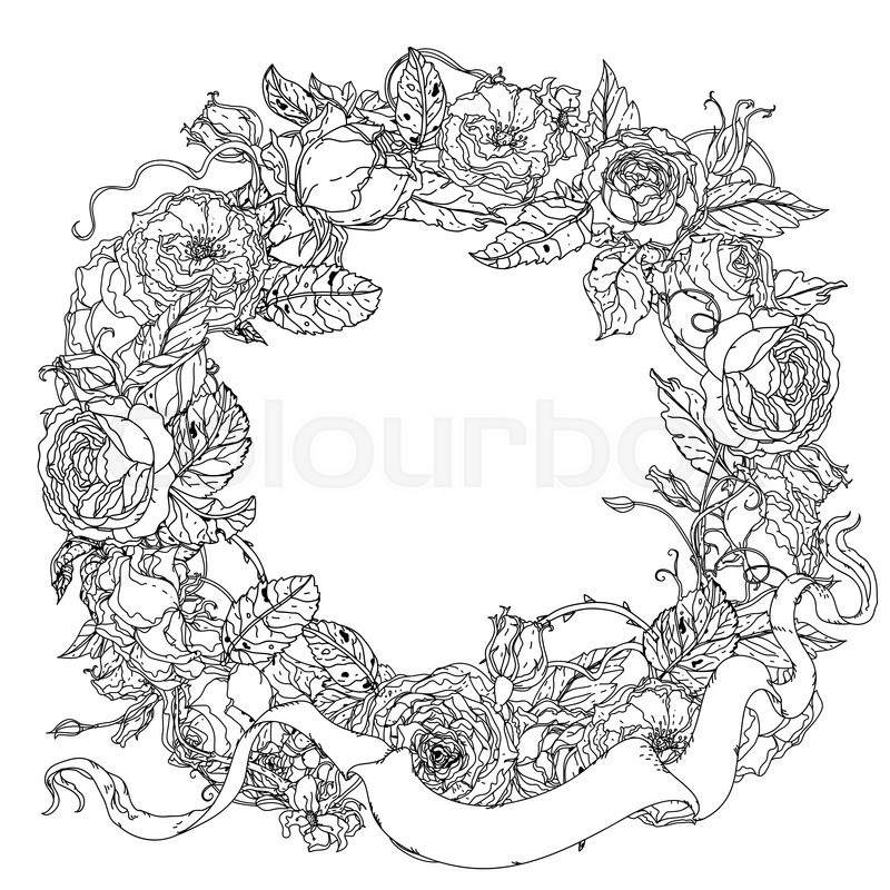 rose garland coloring pages - photo#20