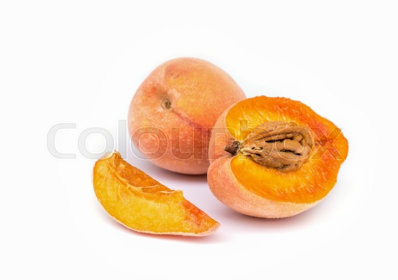 Stock image of 'Peach Fruit with slice isolated on white background.'