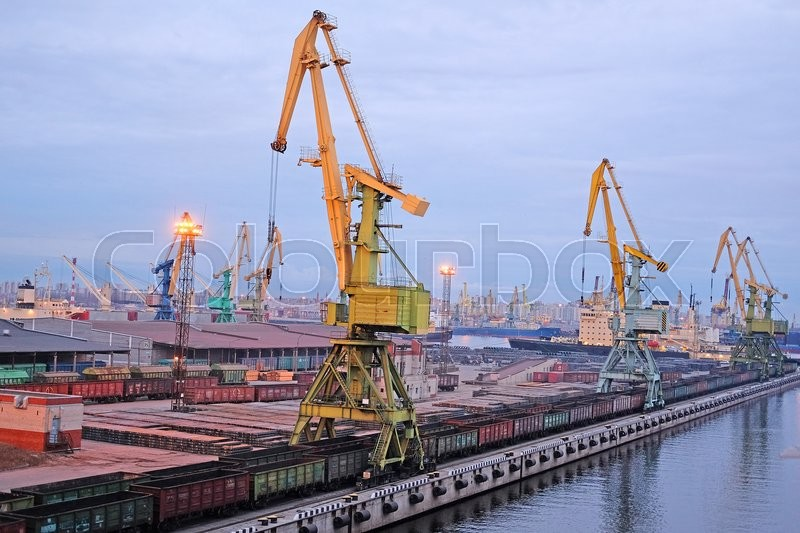 Stock image of 'St. Petersburg, Russia - on April 3, 2016: Cargo port in St. Petersburg, Russia'