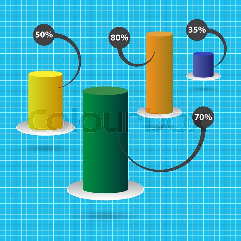 Column Chart With Four Color Columns Stock Vector Colourbox