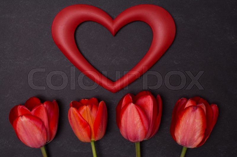 Empty clean black chalkboard with red tulips and empty heart frame. Top view with copy space. Valentines day card or template for your design, stock photo