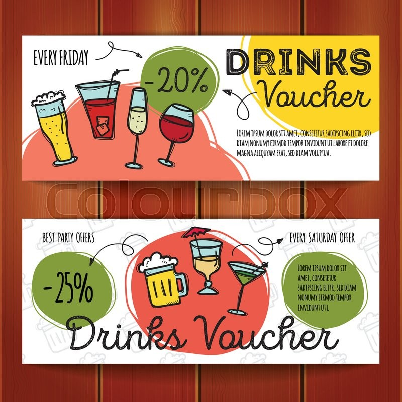 Vector Set Of Discount Coupons For Beverages. Colorful Doodle Style Alcohol  Drinks Discount Voucher Templates. Cocktail Bar Promo Offer Cards.  Discount Coupons Templates
