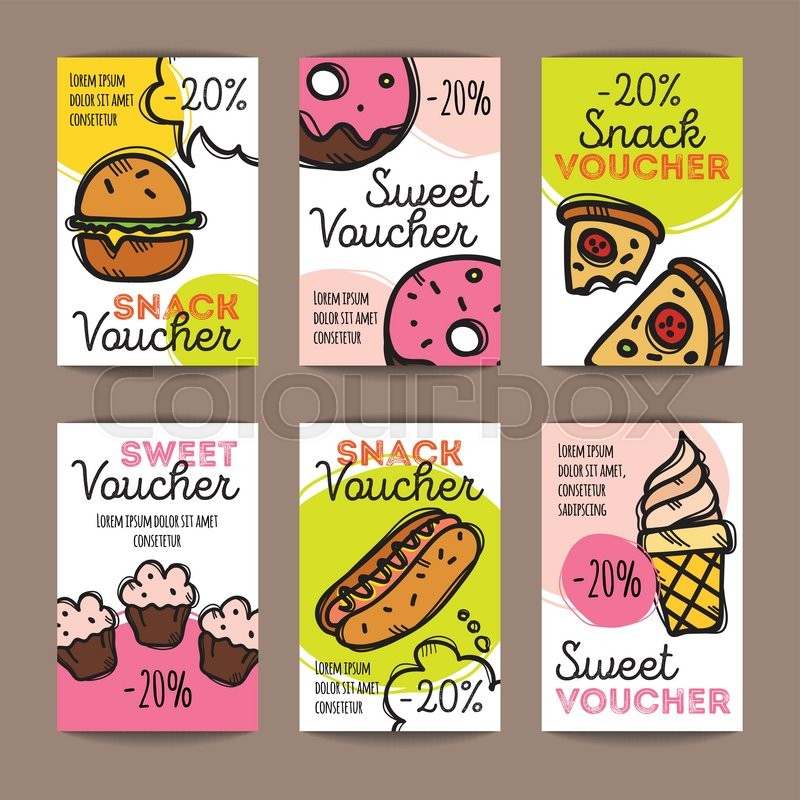 Vector Set Of Discount Coupons For Fast Food And Desserts. Colorful Doodle  Style Discount Voucher Templates. Snack Promo Offer Cards.  Lunch Voucher Template