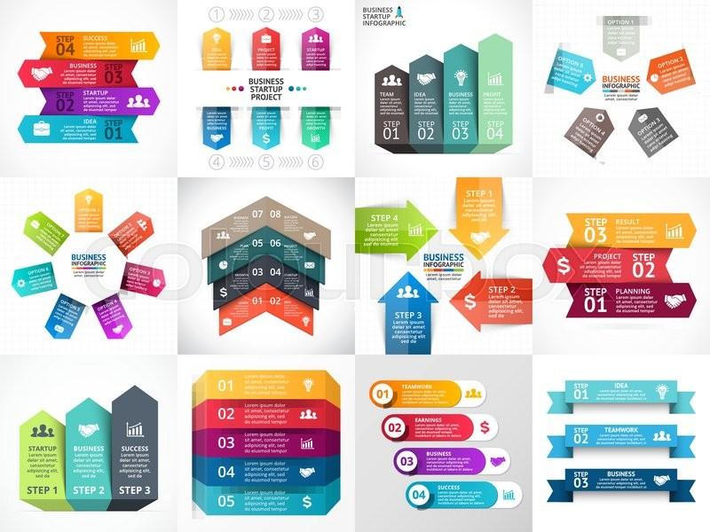 Vector arrows infographic, diagram, timeline graph, presentation ...