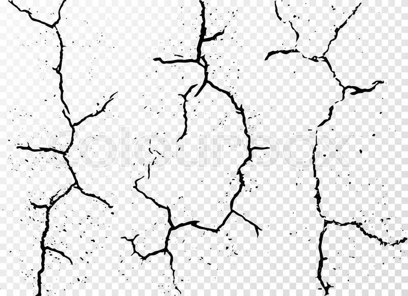 Set Of Vertical Realistic Wall Cracks Isolated On White