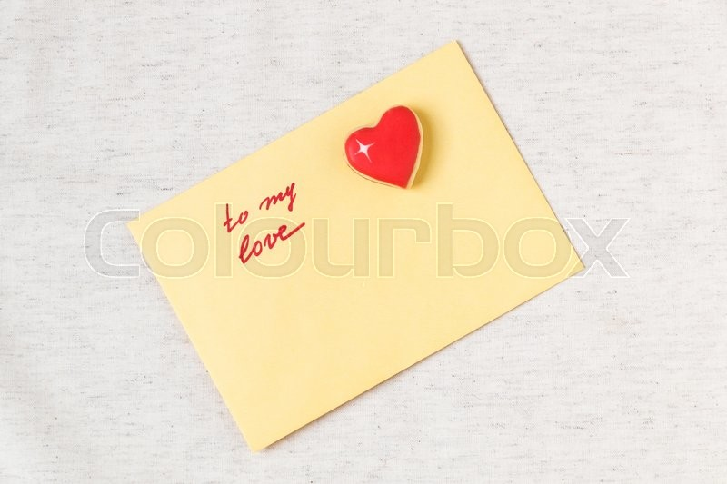 love letter. envelope with to my love message and heart shaped