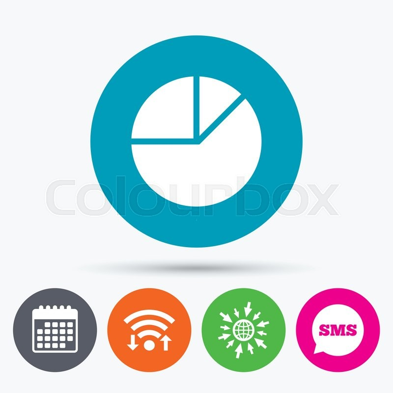 Wifi Sms And Calendar Icons Pie Chart Graph Sign Icon Diagram