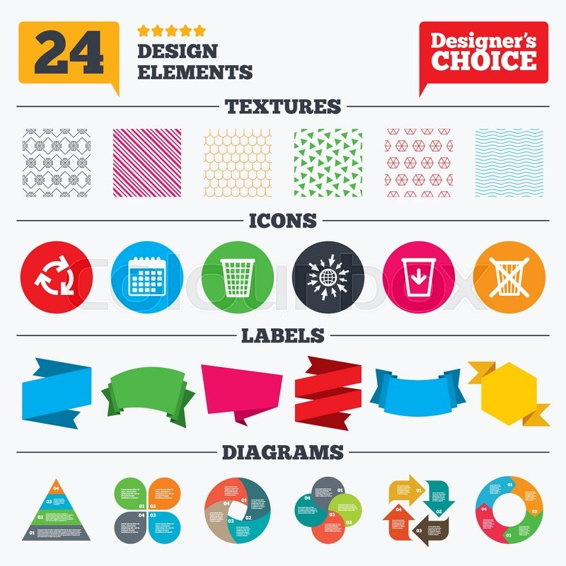 Banner Tags Stickers And Chart Graph Recycle Bin Icons Reuse Or
