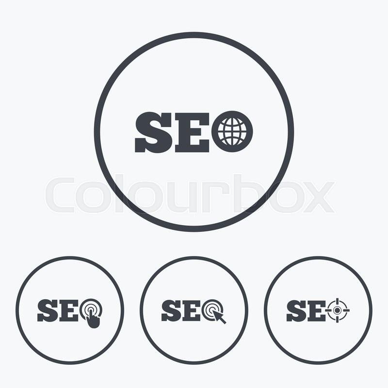 Seo Icons Search Engine Optimization Symbols World Globe And Mouse