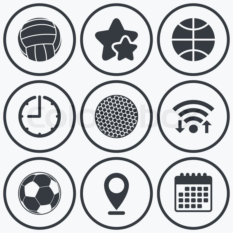 Clock, wifi and stars icons. Sport balls icons. Volleyball, Basketball, Soccer and Golf signs. Team sport games. Calendar symbol, vector