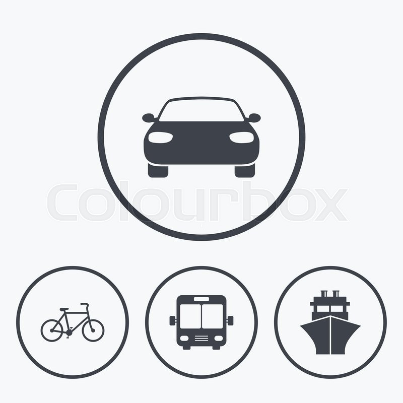 Transport icons. Car, Bicycle, Public bus and Ship signs. Shipping delivery symbol. Family vehicle sign. Icons in circles, vector
