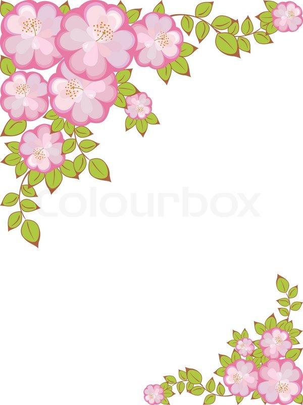 Rechteckiger Rahmen mit einem Muster aus rosa -violetten Blüten in ...