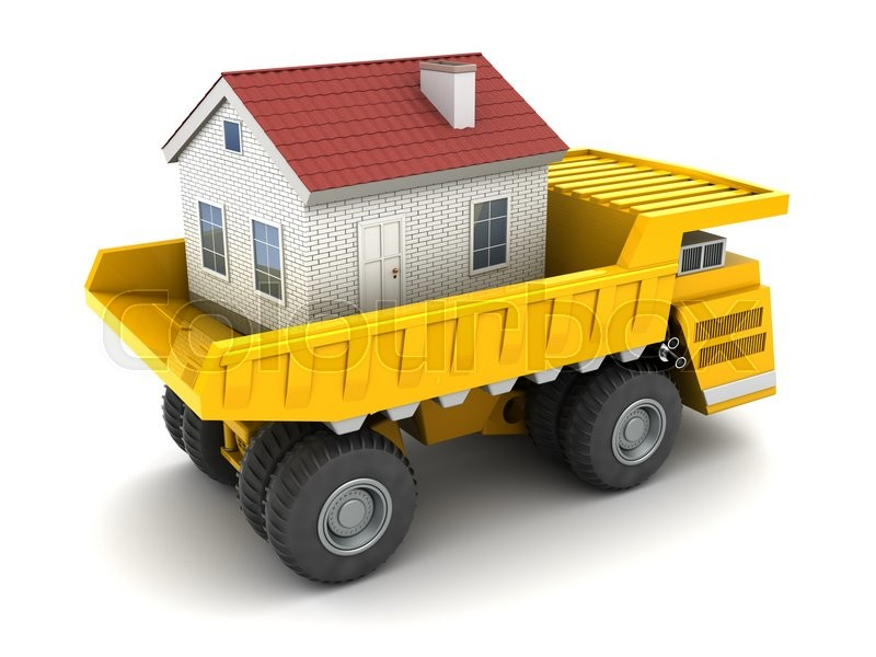 Stock image of '3d illustration of huge dumper with house'