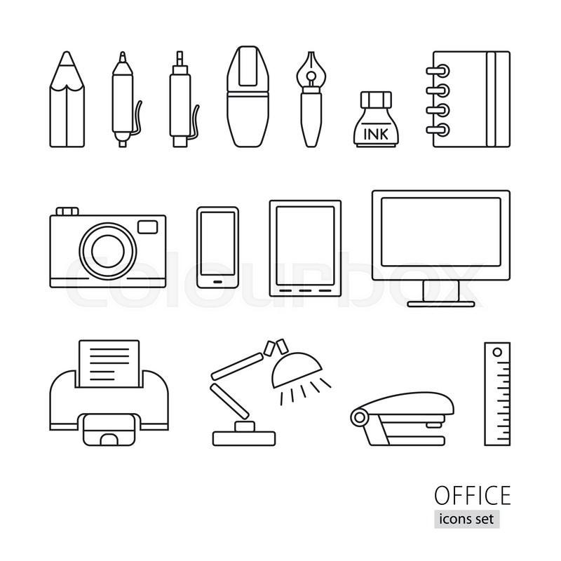 outline icon set  office supplies  printer  lamp  pen