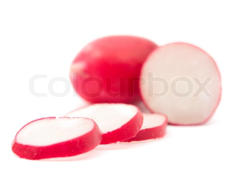 Stock image of 'Red radish with a white background'