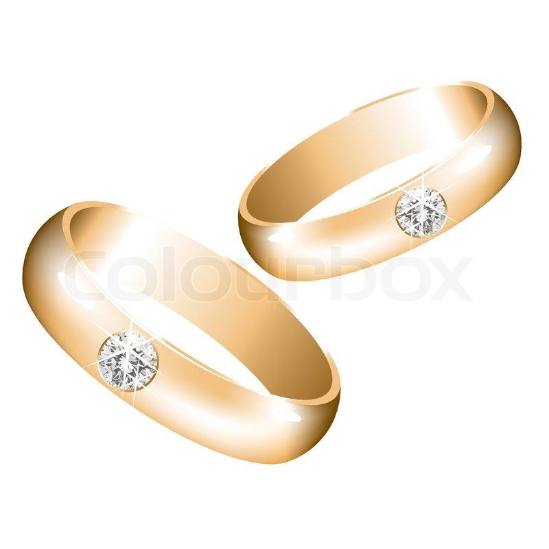 Vektor- goldene Hochzeit Ringe mit Diamanten | Vektorgrafik | Colourbox