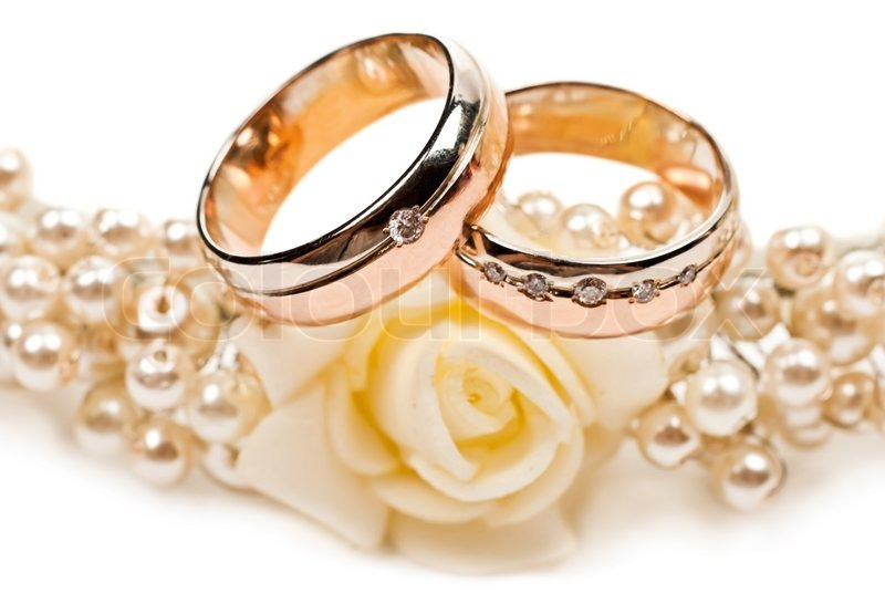 Pair Of Golden Wedding Rings Isolated Stock Photo Colourbox