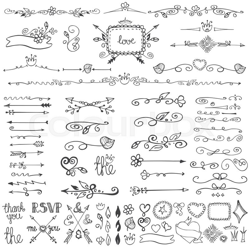 Doodles flourish decor setrderdividersframes and arrowsr stock vector of doodles flourish decor setrderdividersframes and arrows stopboris Image collections