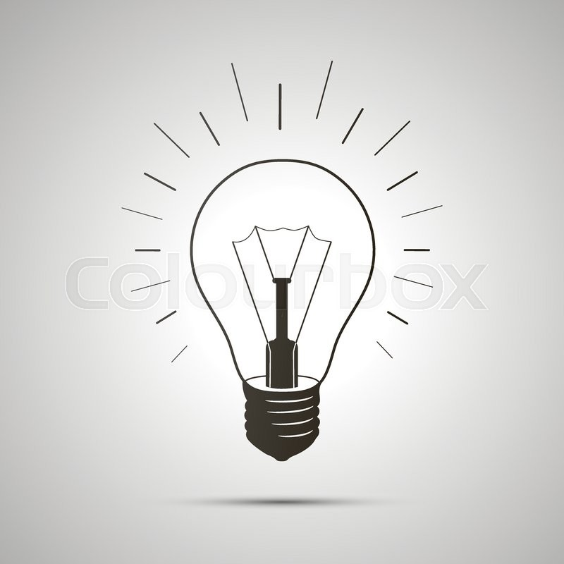 Black Simple Light Bulb Icon With