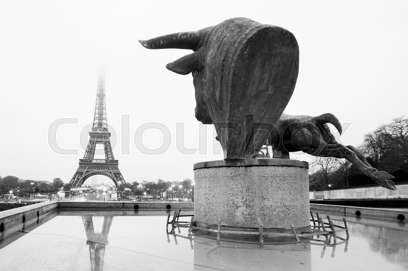 Sculptures and fountains on Trocadero and Eiffel Tower in Paris, France. Black and white vintage image, stock photo